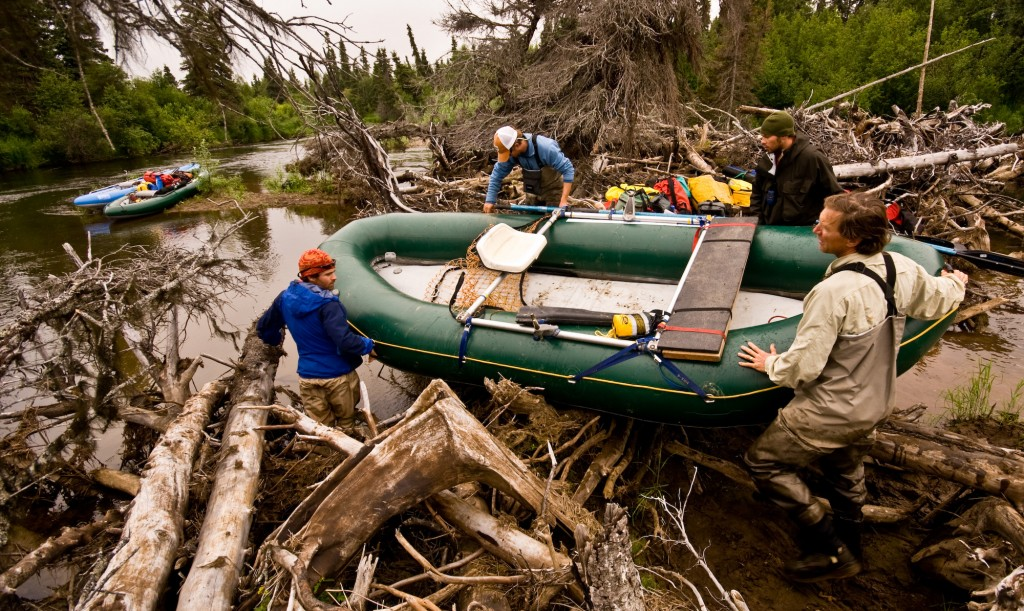 Boys portage raft through log jam
