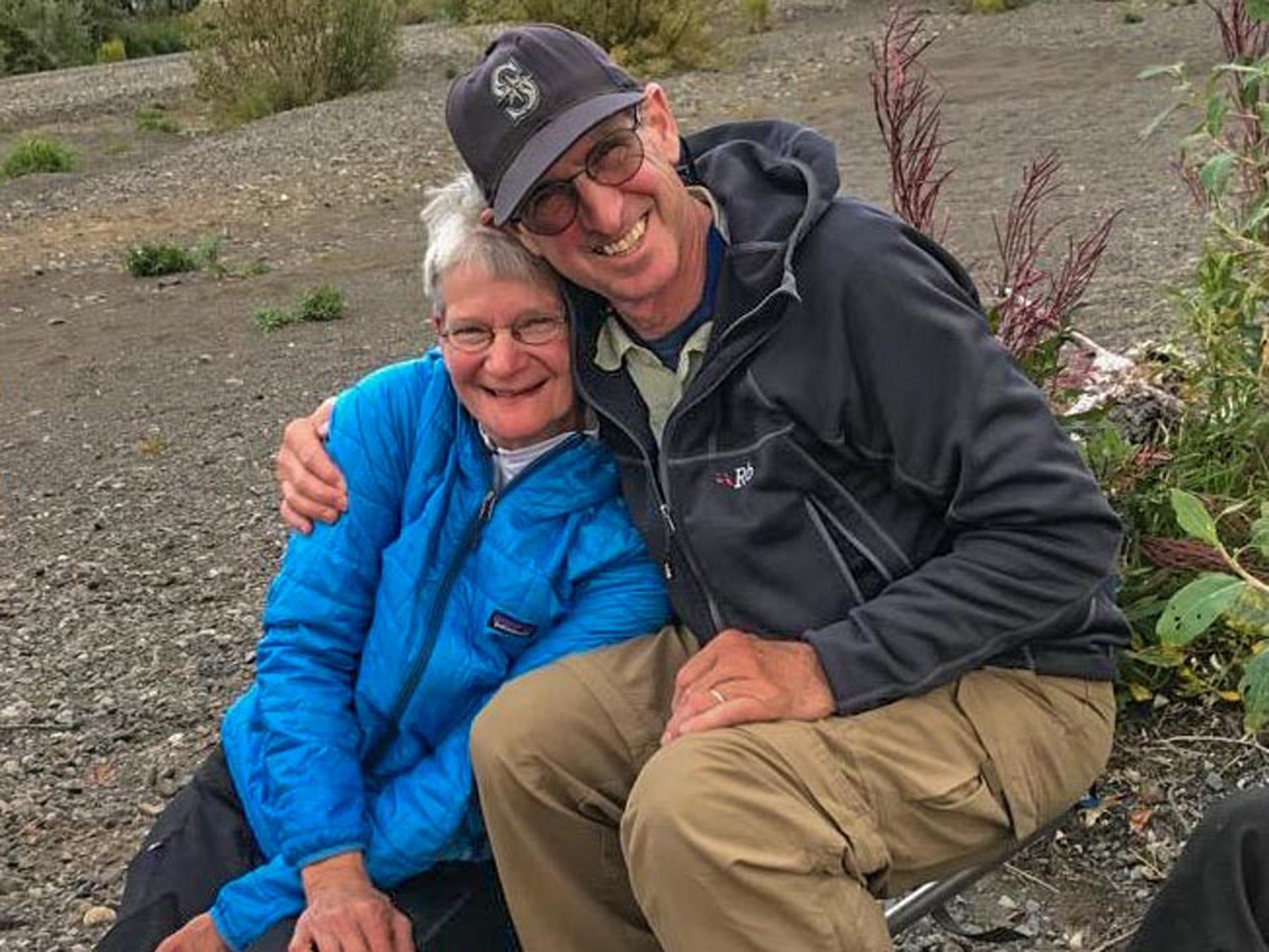 Tom & Judy hug portrait